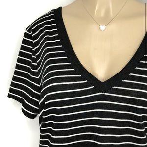 ABBOT MAIN Black & White Striped V-Neck Tee NWT XL